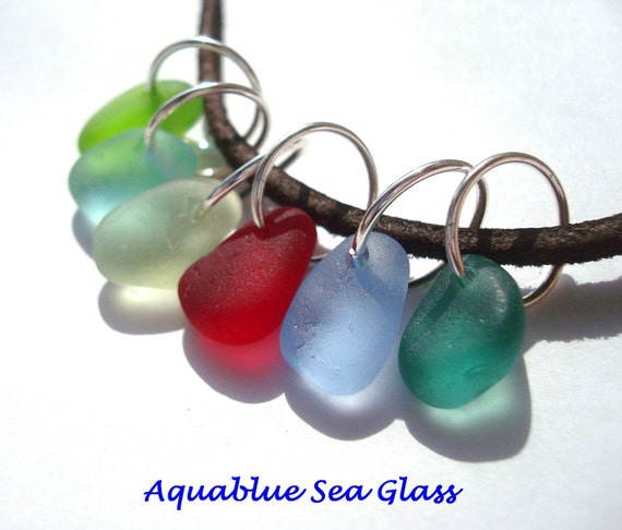 6 English Sea Glass Medium Charms  Top Drilled RED Cornflower Blue  Teal Aqua   Free Shipping  (659)