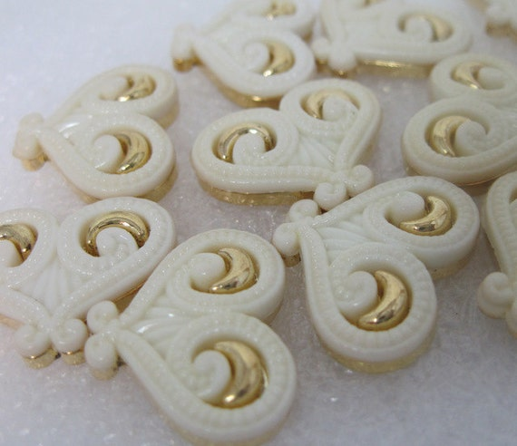 Hearts in Ivory and Gold-tone Flat Back Buttons lot of 12