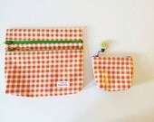 Outlet Proto- Orange Gingham check double zipper Pouch with small pouch set