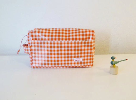 Orange Gingham check  Oilcloth Diaper Pouch with zipper