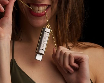 Personalized 8GB Play Harmonica Kit, Necklace USB