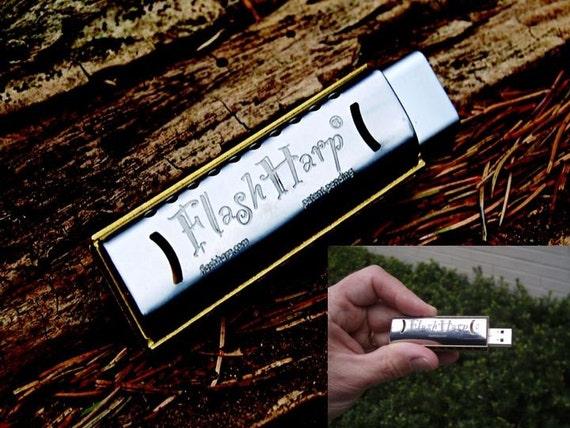 Two 2GB FlashHarp Playable harmonica USB flash drives - Groomsmen Special