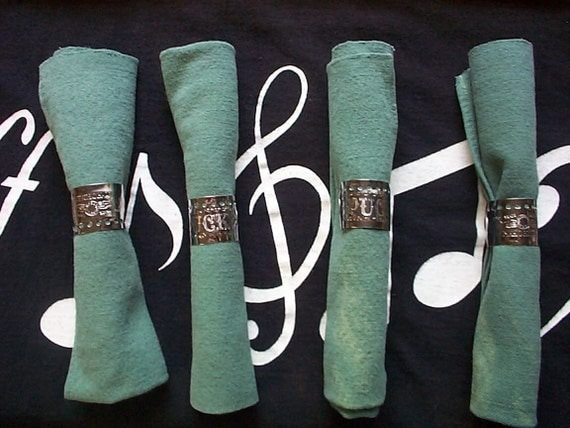 4 Napkin Rings Repurposed - Recycled from Harmonica Plates