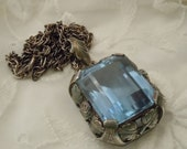 RESERVED for Diane Antique 800 SILVER Blue Glass Stone ROSE Pendant Necklace Free Shipping