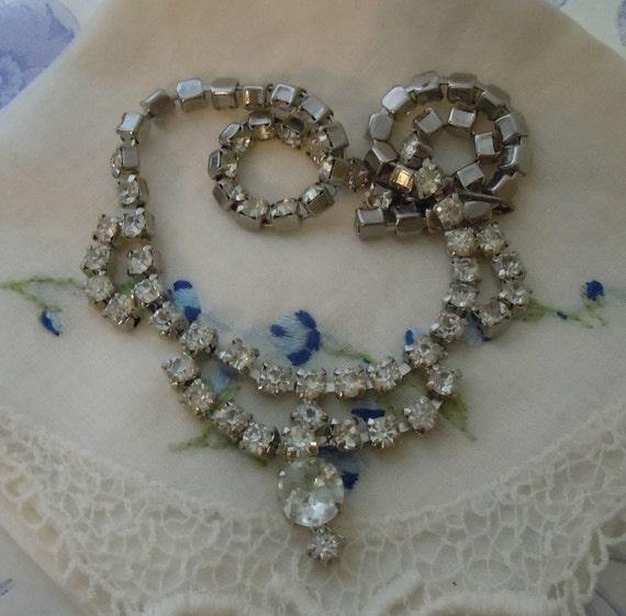 Vintage 1950's Evening PROM Night WEDDING Day Rhinestone Necklace Festoon FREE Shipping