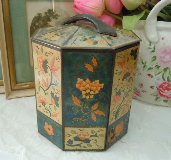 RESERVED for Marie Vintage Shabby Chic Old Tin Container BOX Octogon shaped FLORAL Biscuit Tin Box