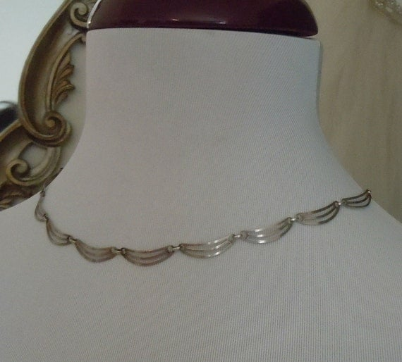 Antique 1910's SILVER NECKLACE Signed FBM 835 Silver Free Shipping
