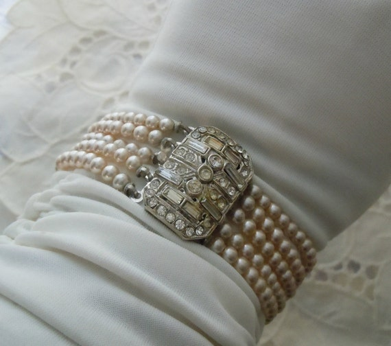 Antique Bracelet Glass PEARL Wide RHINESTONE ART Deco Bracelet Free Shipping