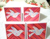 Handmade Friendship Card Fly Away Song Bird set of 4