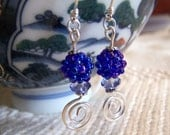 Crystal and Blue glass Beaded Swirl Earrings Sterling Silver