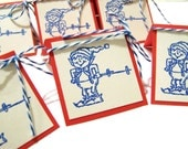 Holiday Thank You Cards set of 6 Elf on Skis