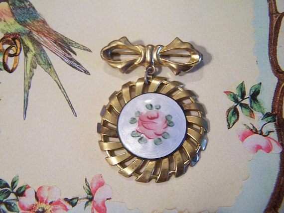 Vintage Guilloche Gilt Brass Pendant with Bow brooch pin