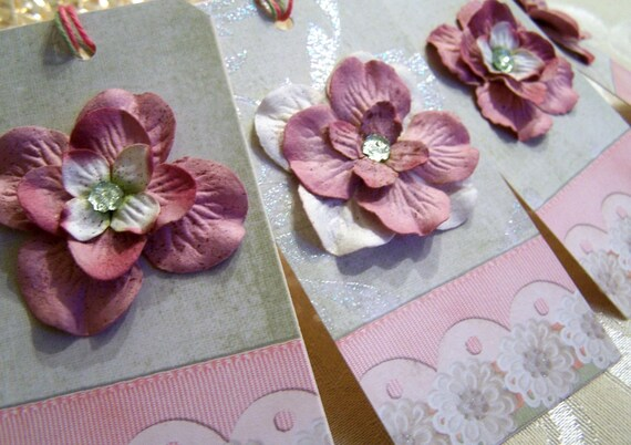 Handmade with Prima Flowers Gift Tags set of 4
