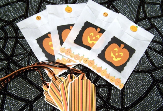 Harvest Time Pumpkin Gift Bags with Matching Tags set of 4