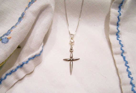 Vintage Restyled Silver Cross Necklace with Freshwater Pearl and Gift Card SALE
