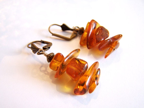 Genuine Amber Dangle Earrings handmade with Vintage Amber beads