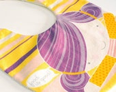 baby girl bib Violeta - printed in high quality cotton fabric with impermeable terry cloth fabric on reverse