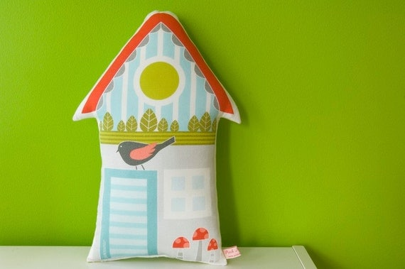 decorative house pillow printed in high quality cotton fabric in red, light blue and green with little bird