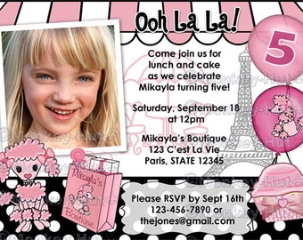 Pink Poodle in Paris Birthday Party Invitation (DIGITAL) dog puppy