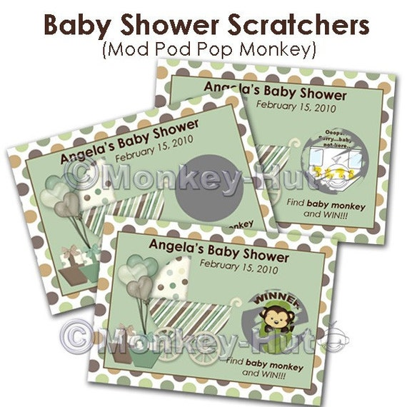 Mod Pod Pop Monkey Baby Shower Scratch Off Card By Monkeyhut