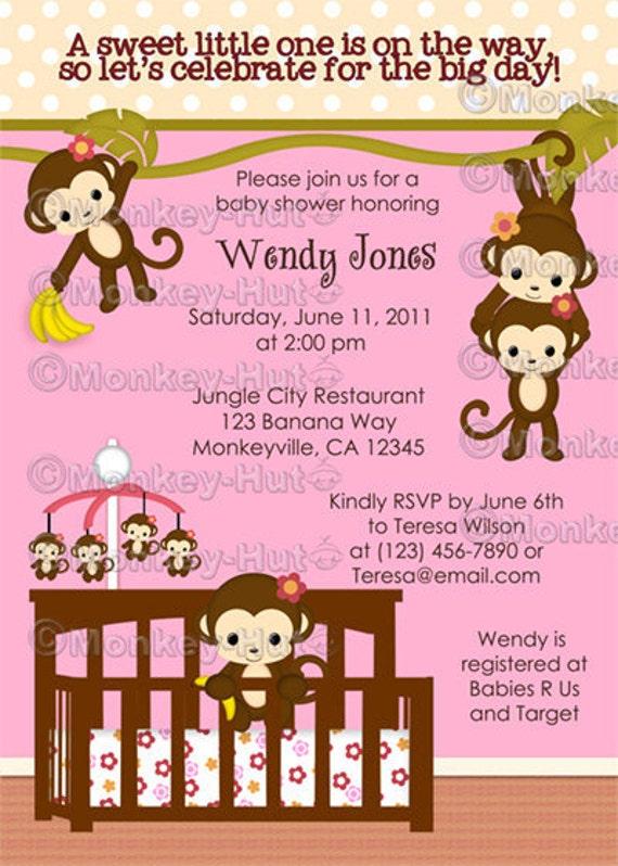 melanie monkey baby shower invitations girl monkeys jungle safari
