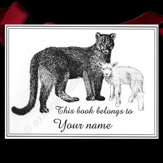 Bookplates Lion and Lamb 15 Personalized Ex Libris Booklabels
