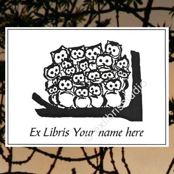 Booklabels Owlmeeting 15 Personalized Ex Libris Bookplates