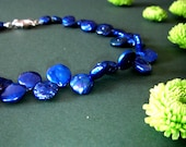 CLEARANCE SALE - knotted electric blue pearl necklace