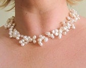 Venice - white floating pearl necklace - REDUCED