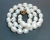 CLEARANCE SALE - White Knotted Pearl Necklace    (No. 1)