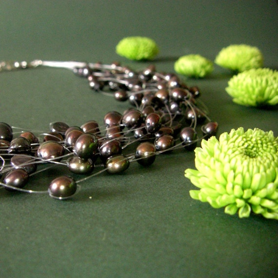 CLEARANCE SALE - black floating pearl necklace