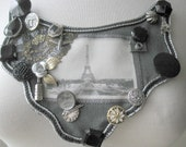 Paris Postcard No. 3 Bib Necklace Film Noir