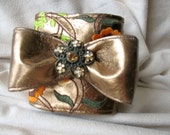 Bronze Faux Leather Bow Cuff with Embroidery by MaggieGlynn