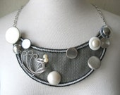 GREY AND SILVER Mod Bib Statement Necklace by MaggieGlynn
