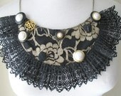 BLACK GOLD LACE Bib Necklace with Vintage Buttons by MaggieGlynn