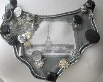 Paris Postcard No. 3 Bib Necklace Film Noir