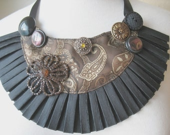 PAISLEY Bib Necklace in Brown and Black   by MaggieGlynn