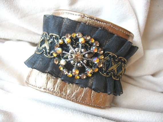 Bronze Leather Cuff with Vintage Bling by MaggieGlynn