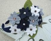 White, Grey & Navy Blue Felt Flower Headband - Perfect For Children, Adults, School