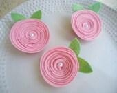 Light Pink Swirl Pearl Felt Flower Hair Clip