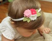 Felt Flower Headband - Mini Pink Wool elastic