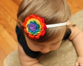 Elastic Headband with Rainbow Felt Flower - Perfect for School, Kids, Teens and Adults