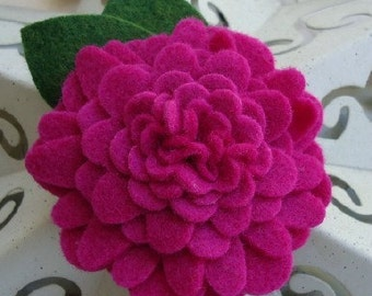 Felt Flower Layer Hair Clip - Colors are Pink Fuschia, White, Tan, Red, Navy Blue
