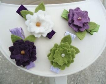 Lavender Grass Felt Flower Summer Hair Clip Set - Great for Babies, Girls, Women