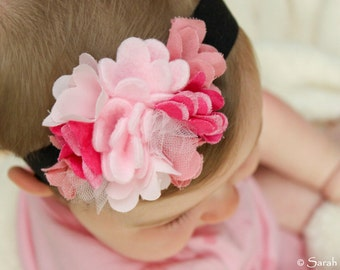 Light and Dark Pink Felt and Fabric Flower Headband with Soft Elastic Band