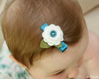 Teal and White Felt Daisy Flower Hair Clip
