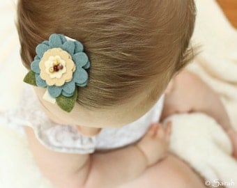 Blue & Tan Felt Flower Hair Clip - Accented with beads