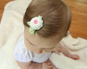 Green, White, and Pink Polka Dot Felt Flower Blossom Hair Clip