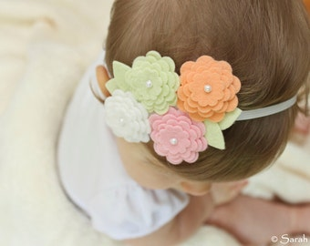 Felt Flower Headband - Pink, Peach, White & Pistachio