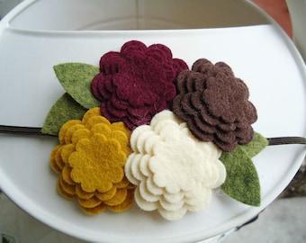 Fall Fashion Wool Felt Flower Headband - Maroon, Brown, Mustard Yellow & Cream